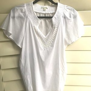 Banana Republic White Beaded Tunic